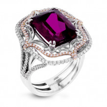 Simon G. 18k White Gold Diamond & Rubellite Ring