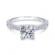Gabriel & Co. 14k White Gold Round Straight Engagement Ring - ER12292R4W44JJ