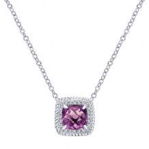 Gabriel 14K White Gold Hampton Amethyst Necklace NK2679W45AM