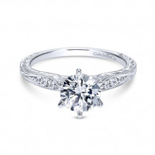 Gabriel & Co. 14k White Gold Round Straight Engagement Ring - ER11827R4W44JJ
