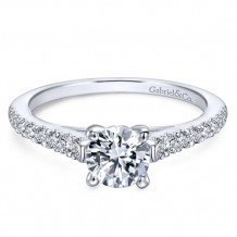 Gabriel & Co. 14k White Gold Round Straight Engagement Ring - ER12297R3W44JJ