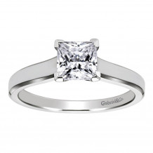 Gabriel & Co 14k White Gold Princess Cut Solitaire Engagement Ring - ER6575W4JJJ