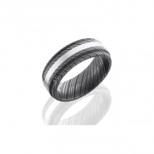 Lashbrook Damascus Steel & 14k White Gold Wedding Band - D8RED12_14KW_ACID