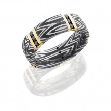Lashbrook Damascus Steel and 14k Yellow Gold With Black Diamond Wedding Band - D7DZEBRA14VERT5X/14KYBLKDIA15X.03