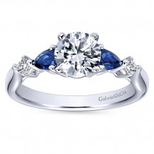 Gabriel & Co 14k White Gold Round 3 Stones Diamond & Sapphire Engagement Ring - ER6002W44SA