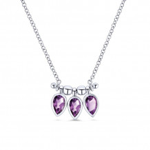 Gabriel 14K White Gold Trends Amethyst Necklace NK5473W4JAM