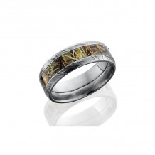 Lashbrook Damascus Steel Camo Domed Wedding Band - D8D14_RTMAX4_POLISH