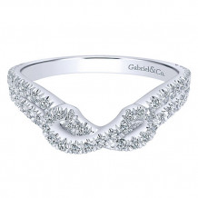 Gabriel & Co 14k White Gold Round Curved Anniversary Band - AN11005W44JJ