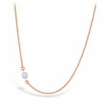 18k Gold HOF Signature Off-Set Single Bezel Necklace