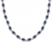 Gabriel & Co. 14K White Gold Lusso Color Blue Sapphire Necklace NK1478W45SB