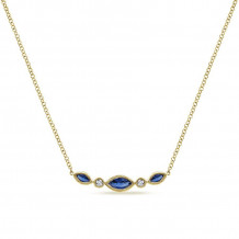 Gabriel 14K Yellow Gold Indulgence Blue Sapphire Necklace NK5420Y45SA