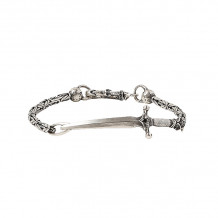 John Varvatos Skulls & Daggers Silver dagger bracelet on chain with black diamond - JVSS-B-SS-101-BDI-8