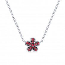 Gabriel 14K White Gold Floral Ruby Necklace NK3724W4JRA
