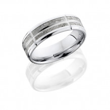 Lashbrook 14k White Gold with Meteorite Segments Wedding Band - 14KW7B(NS)14/METEORITEVSEG11