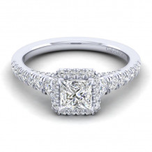 Gabriel & Co. 14k White Gold Entwined Diamond Halo Engagement Ring - ER12598S3W44JJ