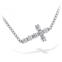 18k Gold Charmed Horizontal Diamond Cross Necklace