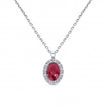 Gabriel 14K White Gold Lusso Color Ruby Necklace NK647W44RB