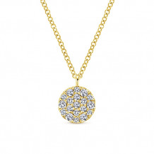 Gabriel & Co. 14k Yellow Gold Round Pave Diamond Necklace - NK5333Y45JJ