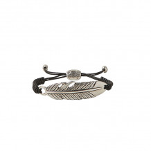 John Varvatos Artisan Metals Silver feather ID bracelet on cord - JVSS-B-AD-101-NS-9.5