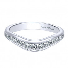 Gabriel & Co 14k White Gold Round Curved Anniversary Band - AN10956W44JJ