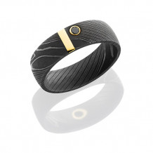 Lashbrook Damascus Steel and 14k Yellow Gold With Black Diamond Wedding Band - D7D12VERTICAL14KYBLKDIA.07BY