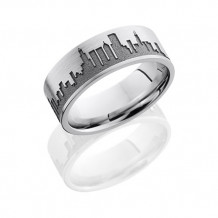 Lashbrook Camo Cobalt Chrome Flat Wedding Band - CC8F_LCVCHICAGOSKYLINE_SAND_POLISH