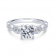 Gabriel & Co. 14k White Gold Straight Diamond Engagement Ring - ER12803R4W44JJ