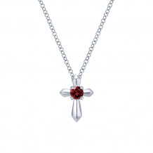 Gabriel & Co. 925 Silver Secret Garden Red Diamond Cross Necklace