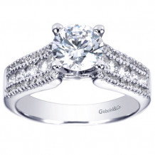 Gabriel & Co 14k White Gold Round Straight Engagement Ring - ER3952W44JJ