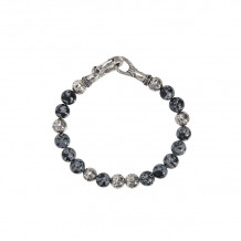 John Varvatos Mercer Silver distressed ball and obsidian bead bracelet - JVBSL0004-GOB