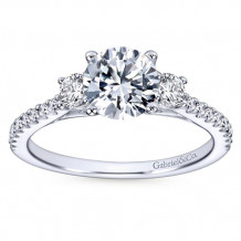 Gabriel & Co 14k White Gold Round 3 Stones Engagement Ring - ER7296W44JJ