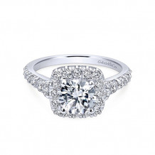 Gabriel & Co 14k White Gold Round Halo Semi Mount Engagement Ring - ER10287W44JJ