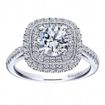 Gabriel & Co 14k White Gold Round Double Halo Engagement Ring - ER8174W44JJ