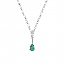 Gabriel & Co. 14K White Gold Color Solitaire Emerald Necklace NK1824W45EB