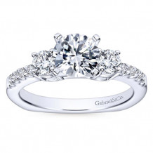 Gabriel & Co 14k White Gold Round 3 Stones Engagement Ring - ER4247W44JJ