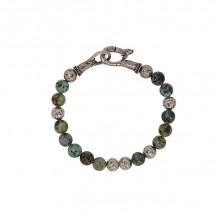 John Varvatos Mercer Silver distressed ball and African turquoise bead bracelet - JVBSL0004-TQ