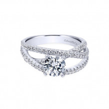 Gabriel & Co 14k White Gold Round Free Form Engagement Ring - ER10204W44JJ