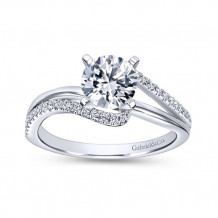 Gabriel & Co 14k White Gold Round Bypass Engagement Ring - ER6974W44JJ