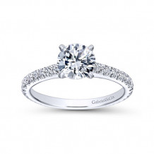 Gabriel & Co 14k White Gold Round Straight Engagement Ring - ER6700W44JJ