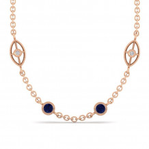 Gabriel & Co. 14K Rose Gold Endless Diamonds Blue Sapphire Necklace NK1038-32K45SA