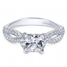 Gabriel & Co. 14k White Gold Princess Cut Twisted Engagement Ring - ER11887S4W44JJ