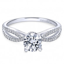 Gabriel & Co. 14k White Gold Split Shank Diamond Engagement Ring - ER8129W44JJ