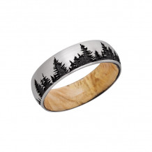 LashBrook Cobalt Chrome Camo Domed Wedding Band - HWSLEEVCC7D_LCVTREES_BOXELDER_SATIN