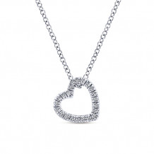 Gabriel & Co. 14k White Gold Heart Shaped Diamond Necklace - NK5451W45JJ