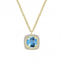 Gabriel 14K Yellow Gold Lusso Color Blue Topaz Necklace NK5596Y45BT