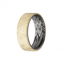 Lashbrook 14k Yellow Gold & Damascus Steel Wedding Band - ZEBRASLEEVE14KY8F_DISTRESS