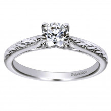 Gabriel & Co 14k White Gold Round Straight Engagement Ring - ER8691W4JJJ