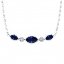 Gabriel 14K White Gold Indulgence Blue Sapphire Necklace NK5420W45SA