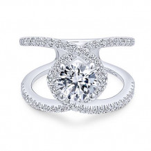 Gabriel & Co. 14k White Gold Free Form Diamond Engagement Ring - ER12645R4W44JJ