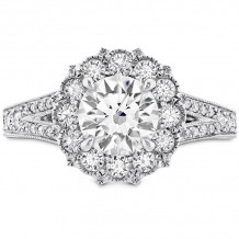 Hearts on Fire 18k White Gold Liliana Diamond Split Shank Halo Engagement Ring - HBSDLILHA00458WAA-C